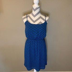 Francesca's Miami Black & Blue Chevron Dress